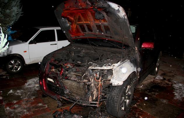 На Закарпатті спалили машину міліціонера (відео)