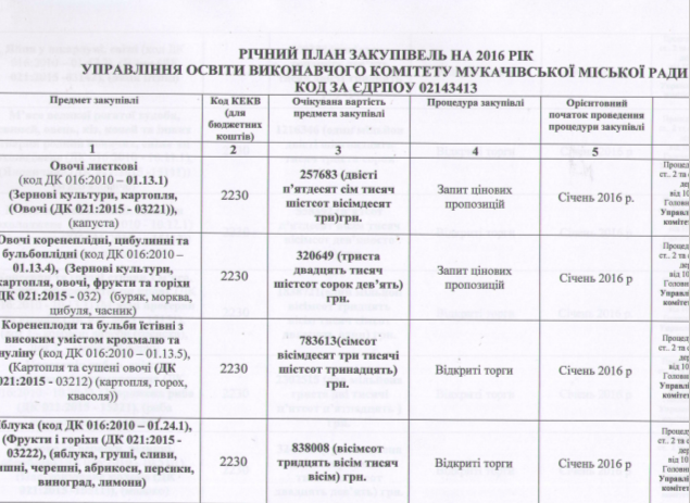 В Мукачеві влада непрозоро організовує процес держзакупівель (ДОКУМЕНТ)