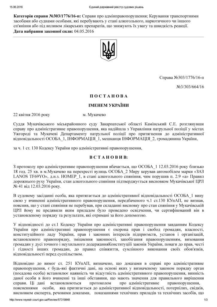 """У Мукачеві суддя """"відмазав"""" нетверезого прокурора (ДОКУМЕНТ)"""