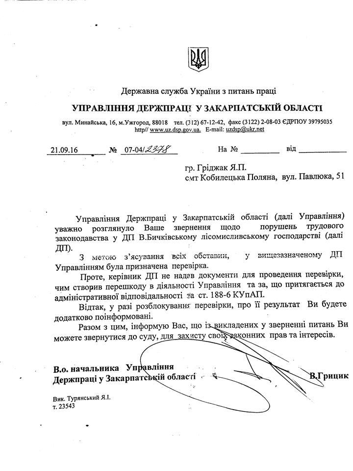 """На Закарпатті керівника лісового господарства """"зловили"""" на порушенні прав працівників (ДОКУМЕНТ)"""