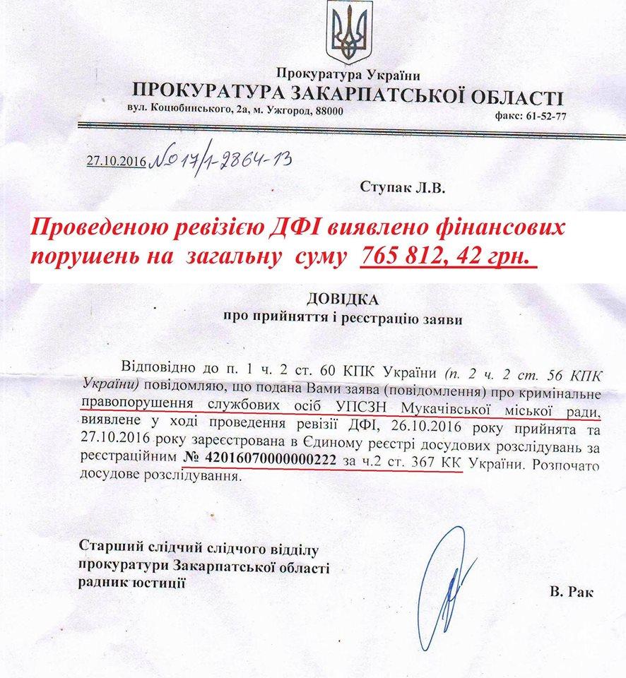 Щодо чиновників Мукачівської міськради прокуратура відкрила кримінальне провадження (ДОКУМЕНТ)