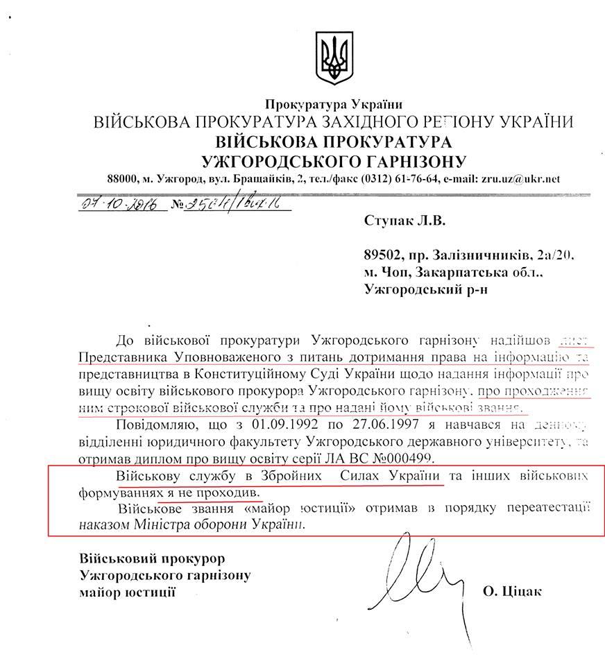 Військовий прокурор Ужгородського гарнізону визнав, що в армії не служив (ДОКУМЕНТ)
