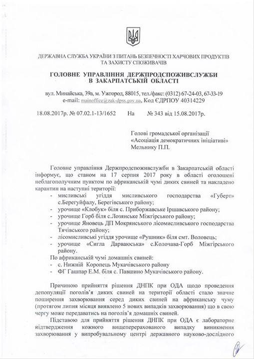 Відстріл диких кабанів у Мукачівському районі є злочином (документ)