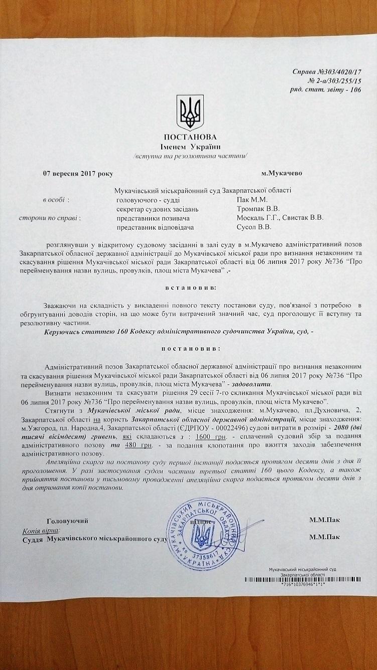 Москаль виграв від Балоги вже четвертий суд в Мукачеві (документ)