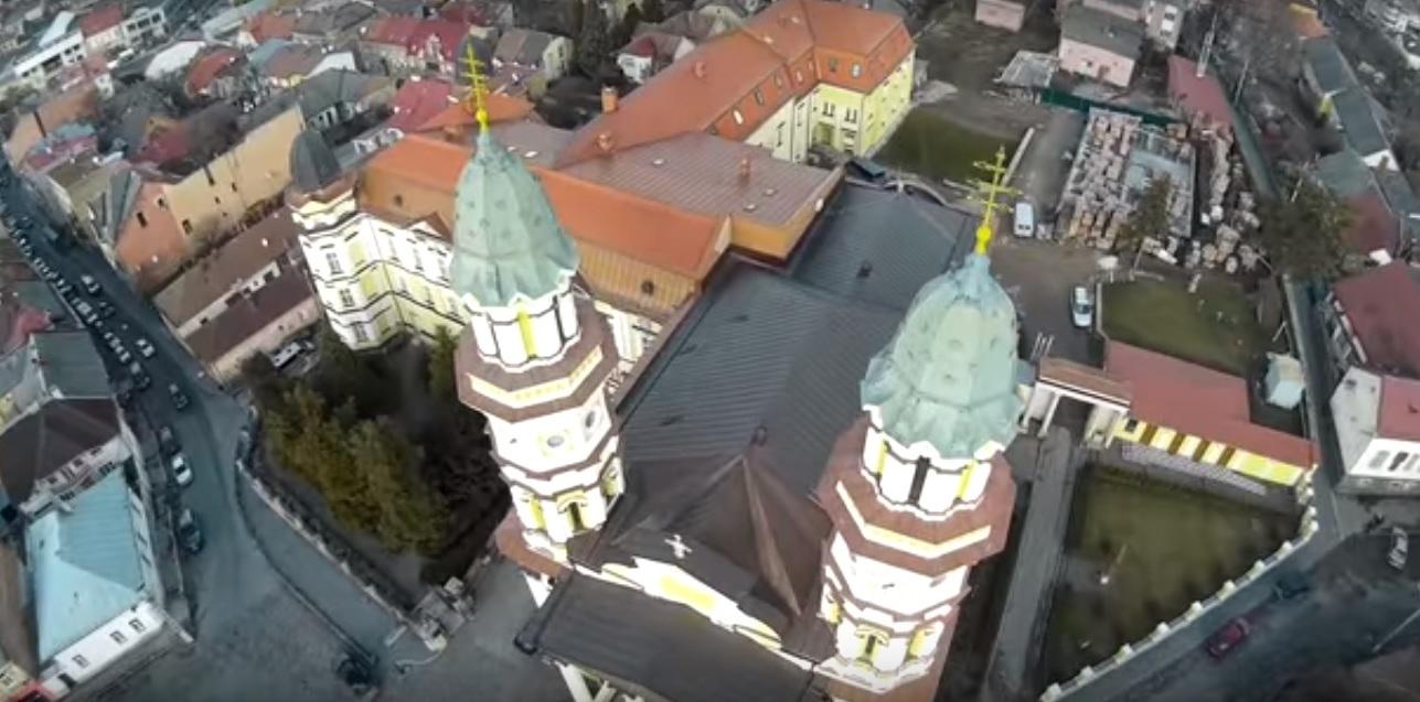 Кафедральний собор Ужгорода з висоти пташиного польоту (відео)