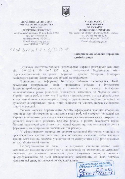 Державне агентство рибного господарства виступає проти будівництва міні-ГЕС на Закарпатті (ДОКУМЕНТ)