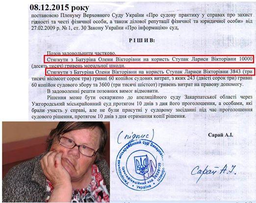 Верховний Суд України підтвердив стягнення коштів з закарпатської бабусі, яка ганялась з табуреткою за журналістами