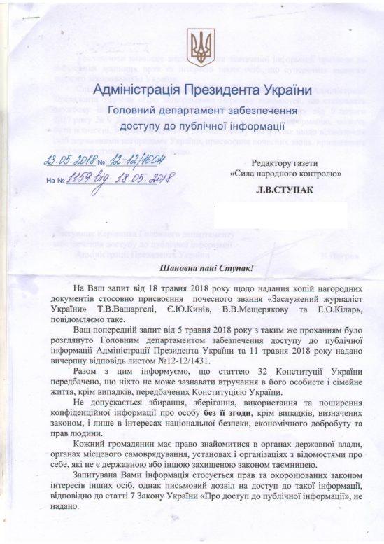 Адміністрація Президента закрила інформацію про заслужених журналістів для редактора закарпатського видання (документ)