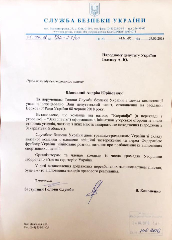 СБУ заборонила в'їзд в Україну закарпатським угорцям, які зіграли на сепаратистському чемпіонаті з футболу (документ)