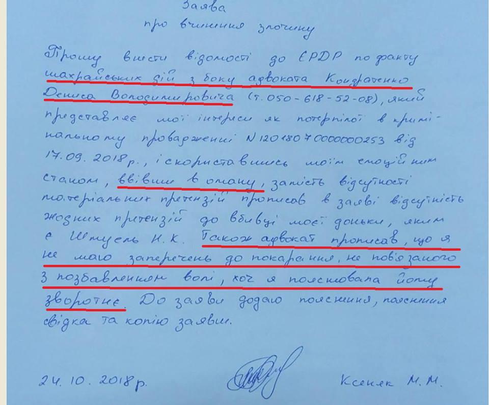 Адвоката вбитої іноземцем на Ужгородщині дівчинки звинуватили у шахрайстві (документ)