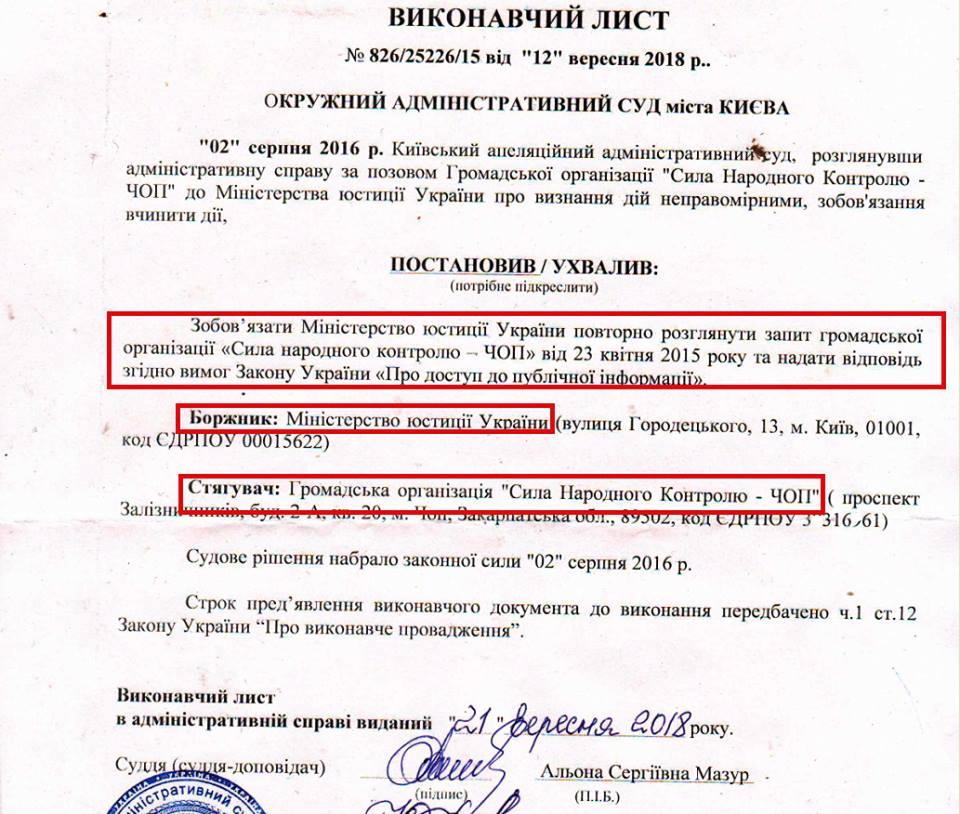 Міністерство юстиції постраждало через ігнорування вимог закарпатської ГО (документ)