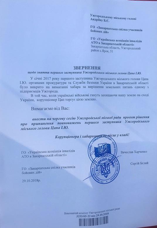Учасники бойових дій вимагають повторного звільнення з посади заступника Ужгородського міського голови Цапа (документ)