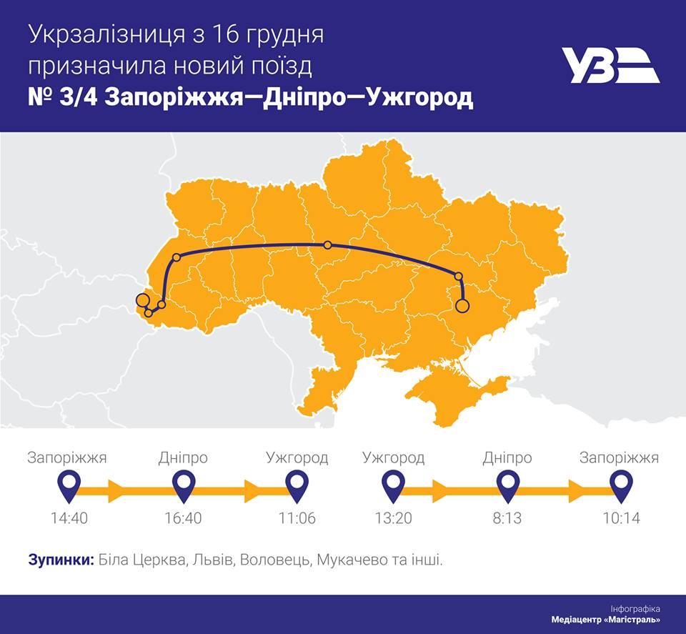 """16 грудня """"Укрзалізниця"""" запустить потяг """"Запоріжжя-Дніпро-Ужгород"""""""