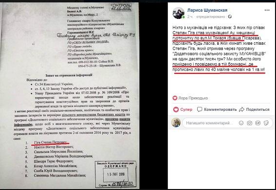 """Мукачівська міськрада роздає матеріальну допомогу """"потрібним"""" людям /документ/"""