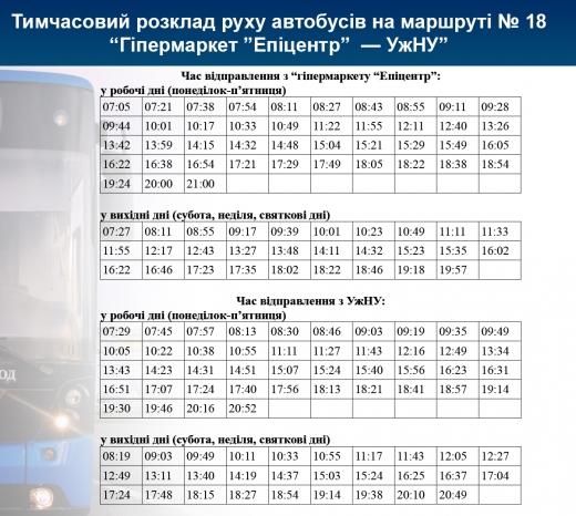 Автобус №18 в Ужгороді тимчасово курсуватиме за іншим розкладом