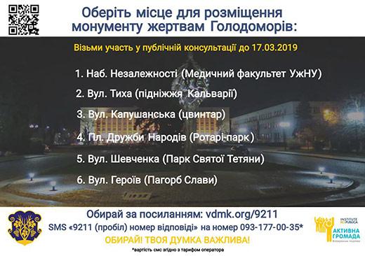 Ужгородців питають, куди перенести пам'ятник жертвам Голодоморів