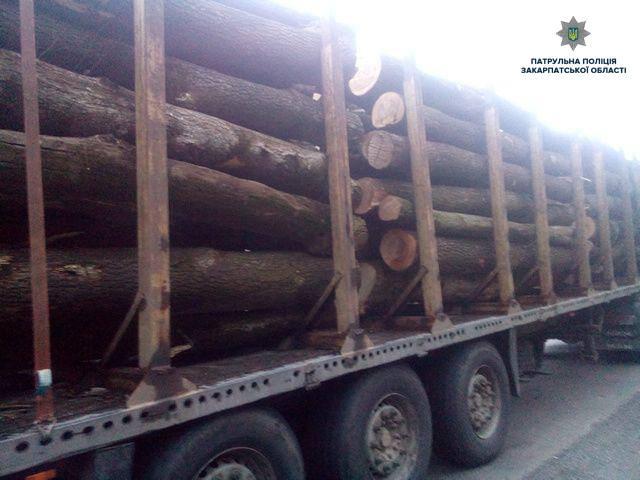 На Воловеччині патрульні зупинили вантажівку з деревиною без документів