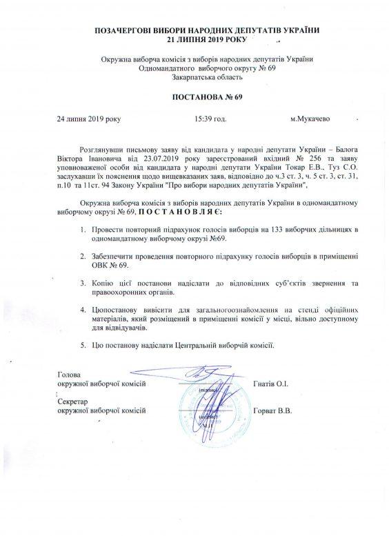 ОВК №69 у Мукачеві: результати не оголошені, перерахунок не розпочато, у поліції – кримінальне провадження