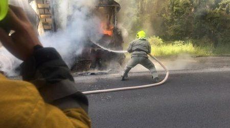 На Закарпатті горіла вантажівка з будматеріалами