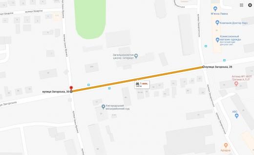 Пообіді в Ужгороді частково перекриють автомобільний рух по вул. Загорській