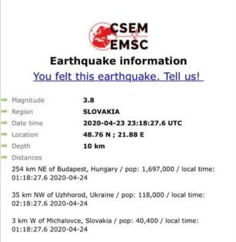 За 35 км від Ужгорода стався землетрус силою 3,8 бала