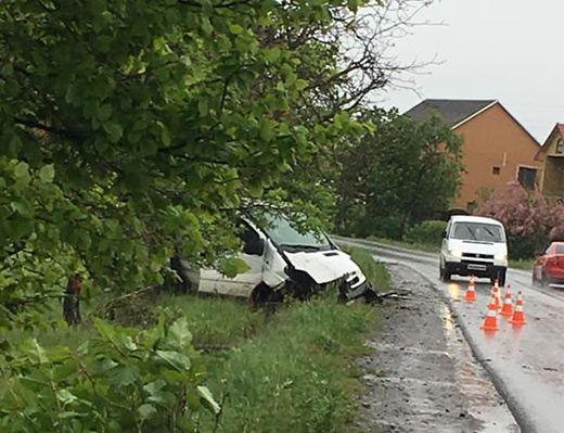На Виноградівщині мікроавтобус з'їхав у кювет – двоє людей отримали травми