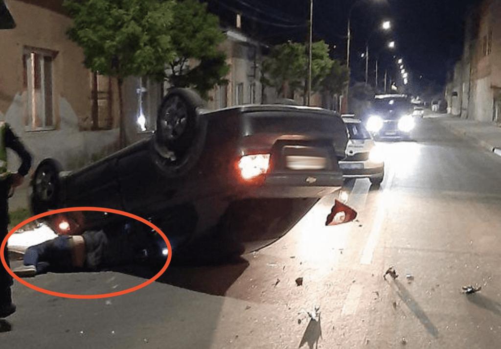 В Ужгороді іномарка з нетверезим водієм за кермом перекинулася на дах