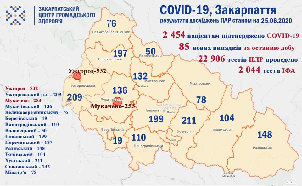 За добу на Закарпатті виявлено 85 нових випадків COVID-19, померло 5 пацієнтів