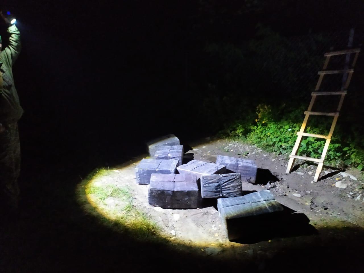 Закарпатські прикордонники сполохали контрабандистів, які збиралися переправити сигарети через кордон за допомогою драбини