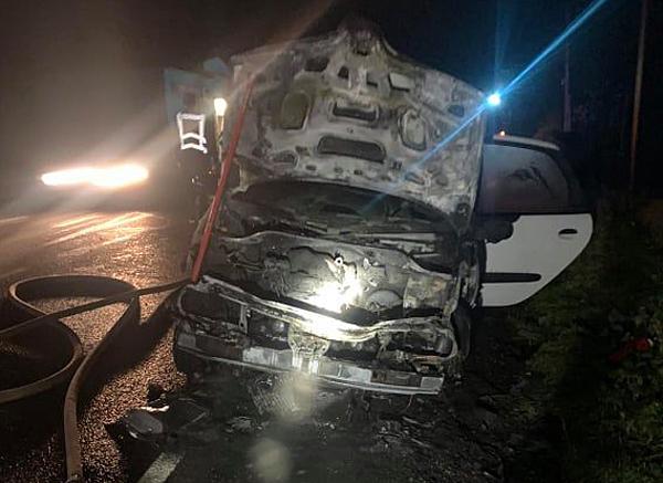 На Воловеччині під час руху загорівся автомобіль