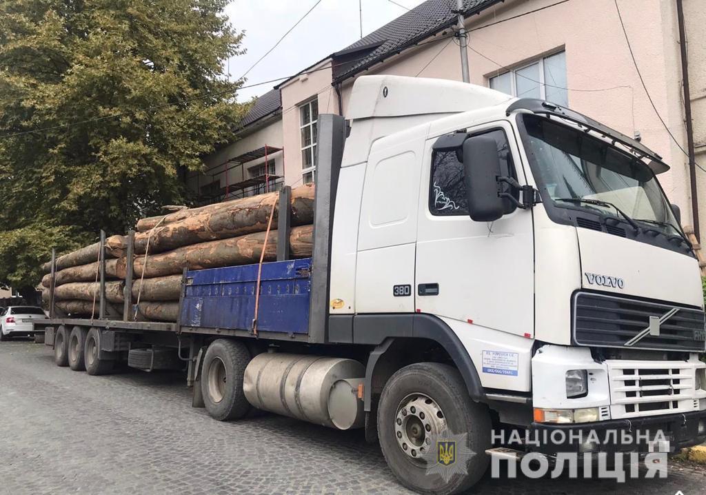 Полісмени вилучили на Хустщині дві вантажівки з лісом із підробленими документами