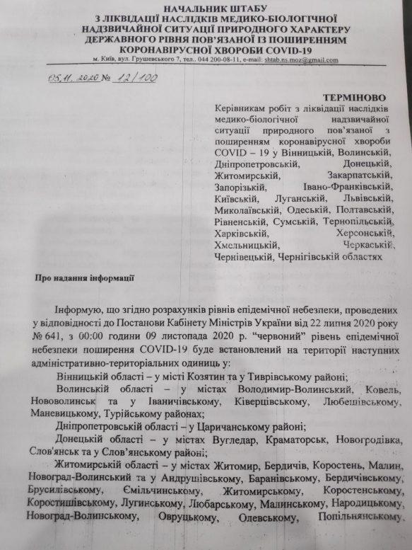 Закарпатська ОДА має надати обґрунтовані пропозиції, щодо уведення карантинних обмежень на територіях з «червоним» рівнем небезпеки (документ)