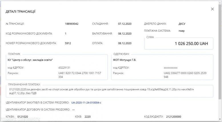 Школи Виноградівщини і Рахівщини закуповують деззасоби на мільйони гривень у родичів екс-поліцейського (документ)