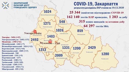 На Закарпатті протягом минулої доби виявили 315 випадків COVID-19
