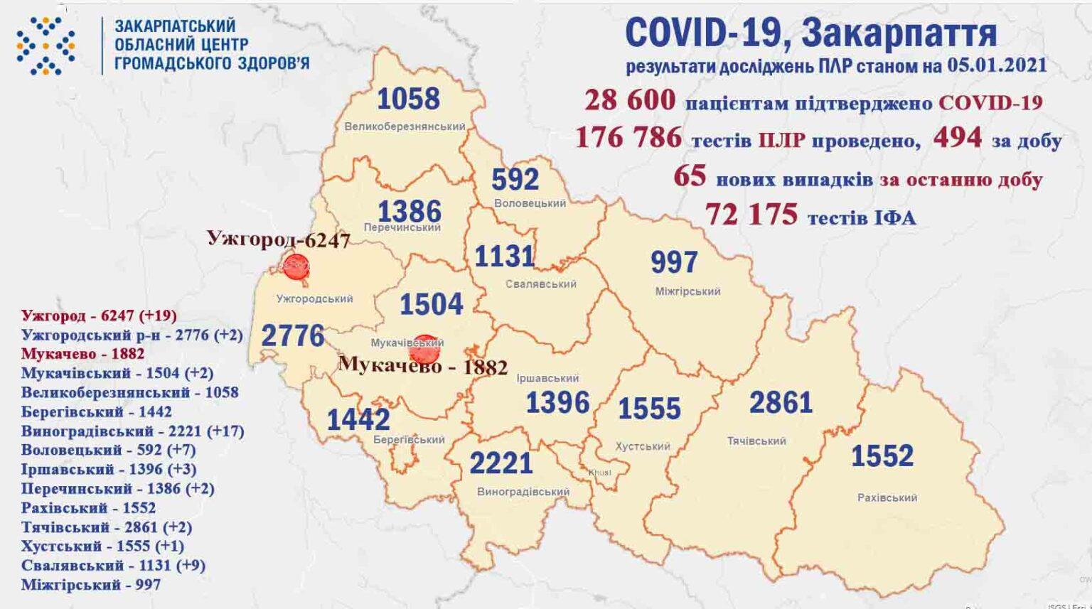 На Закарпатті за добу у 65 осіб підтверджено коронавірус
