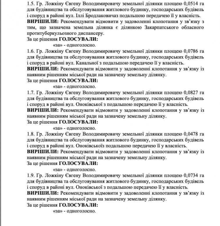 Атовець подав до Ужгородської міськради понад 100 заяв на отримання земельних ділянок (документ)