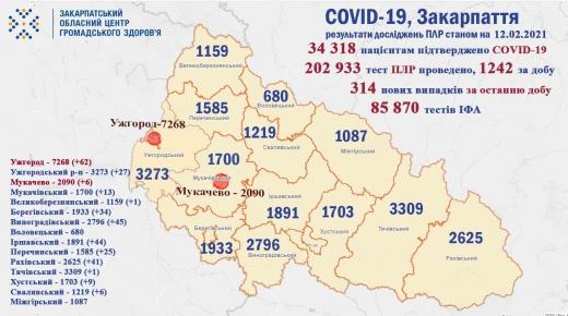 За минулу добу у 314 закарпатців підтверджено коронавірус
