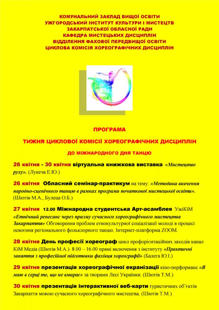 В Ужгородському інституті культури і мистецтв пройде тиждень циклової комісії хореографічних дисциплін