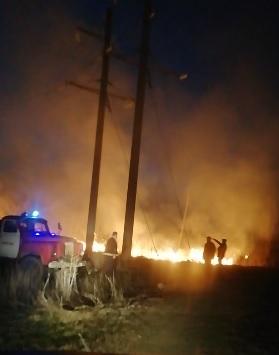 Через підпал сухої трави на Хустщині сталася масштабна пожежа, що загрожувала будинкам та лініям електропередач (ВІДЕО)