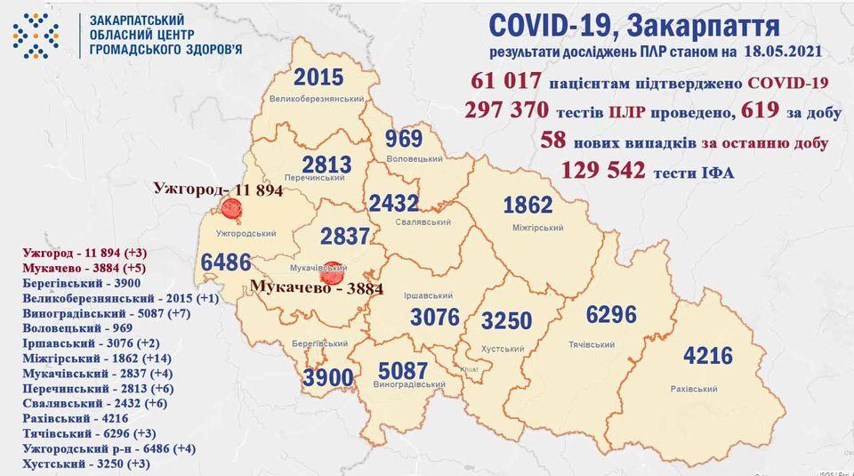 На Закарпатті протягом доби виявили 58 випадків COVID-19