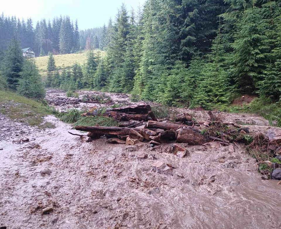 Через сильні зливи на Хустщині зійшли на дорогу два селевих потоки