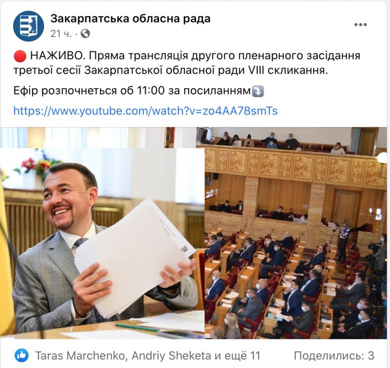Через ненормативну лексику голови Закарпатської облради Петрова видалили трансляцію сесії (відео)