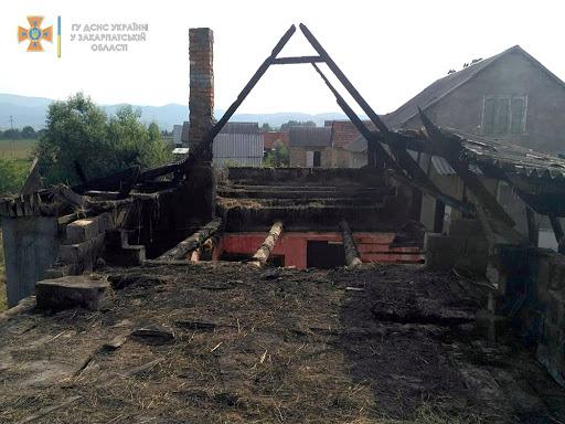На Перечинщині пожежа знищила житловий будинок
