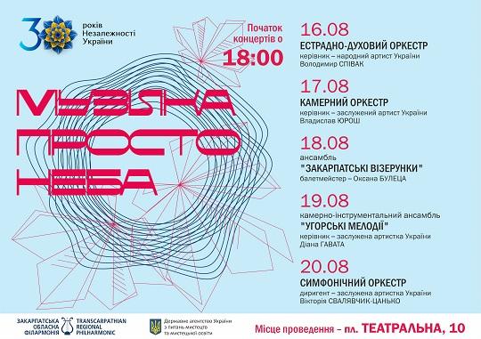 Колективи Закарпатської обласної філармонії дадуть серію концертів просто неба