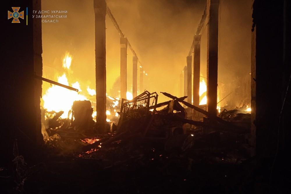 Під час пожежі у колишньому колгоспному складі на Хустщині згоріли три автівки та 20 тонн сіна